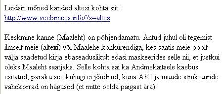 altex.ee kaebas ennast spam kirja saatjana andmekaitse inspektsiooni. Katke nende saadetud kirjast seoses lehega www.spami.ee