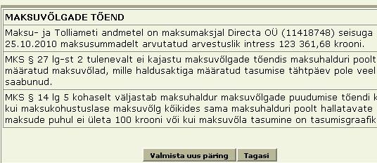 emateab.ee ehk directa oy tasumata maksud 123 tuhat krooni intresse